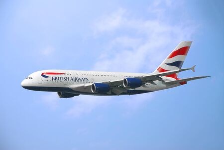 HONG KONG – March 19: British Airways Airbus 380 arrive in Hong Kong International Airport on March 19, 2014 in Hong Kong. British Airways is the flag carrier airline of the United Kingdom. Editorial