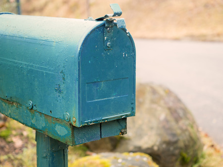 American mailbox in blue