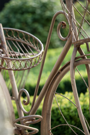 Bicycle rack as decoration for the garden