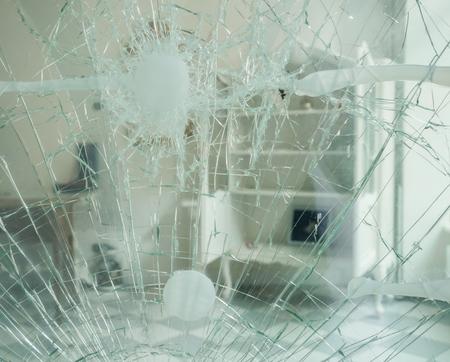 Damaged door after a burglary