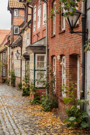 Small alley in Lüneburg in autumn