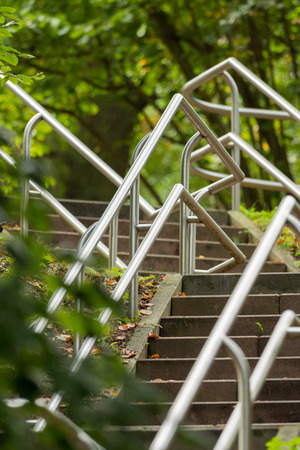 Modern stairs railing in the park