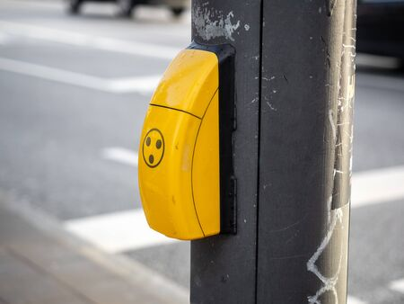 Button on the traffic light for blind people Stock Photo