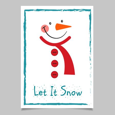 Tarjeta de muñeco de nieve de Navidad Ilustración de vector