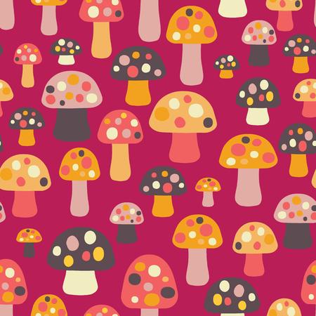 seamless pattern mushrooms coral orange brown pink