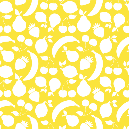 Vintage inspired white fruits banana cherry lemon strawberry pear seamless vector pattern on a yellow background. Illustration