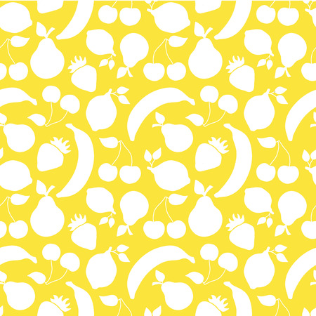 Vintage inspired white fruits banana cherry lemon strawberry pear seamless vector pattern on a yellow background. Stock Photo