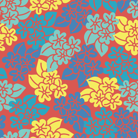 Red yellow blue hibiscus handdrawn seamless pattern. Great for fabric, wallpaper, and scrap booking. Vector surface pattern design.