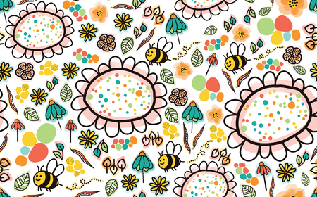 Doodle bees and flowers seamless pattern on a white background. Perfect for the kids market. To find coordinating patterns, check out my portfolio page! Banque d'images - 103853246