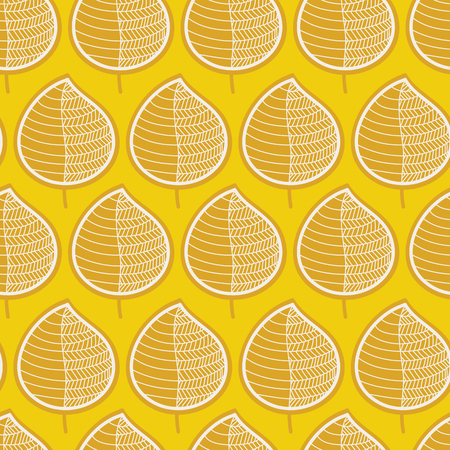 Geometric orange leaves on a mustard yellow background. Seamless vector pattern. Perfect for fabric, all kinds of paper projects, and stationery. Great fit for Thanksgiving! Stock Photo