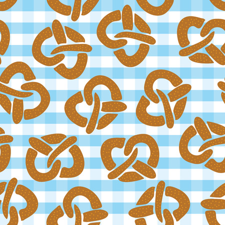Pretzel seamless pattern for Oktoberfest on a blue and white plaid background. Vector illustration. Great for backgrounds, wrapping, fabric, and packaging.
