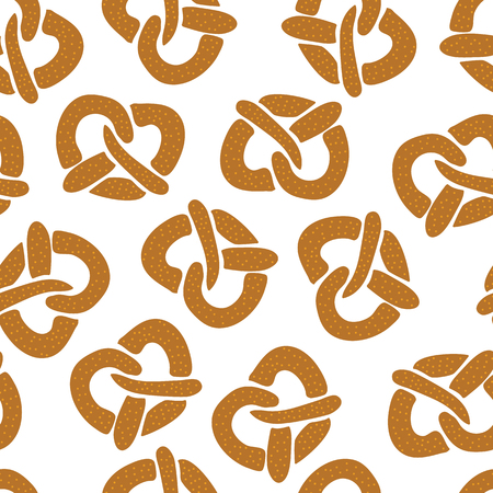 Pretzels seamless vector pattern on a white background. Vector illustration. Great for backgrounds, wrapping, fabric, kitchen items, and packaging. Perfect for Oktoberfest! Illustration