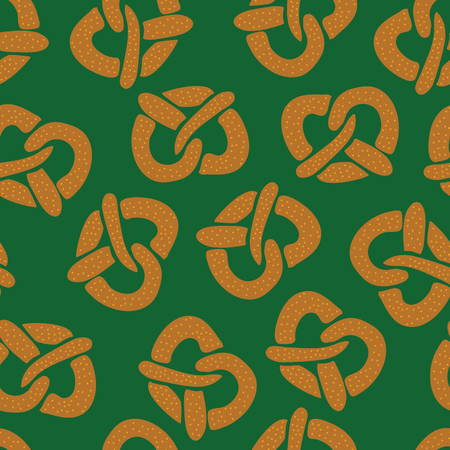 Pretzels seamless vector pattern on a green background. Vector illustration. Great for backgrounds, wrapping, fabric, kitchen items, and packaging. Perfect for Oktoberfest!  イラスト・ベクター素材
