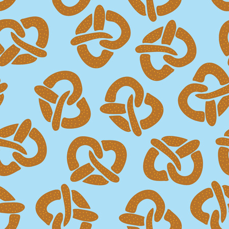 Seamless pattern with pretzels for Oktoberfest on a blue background. Vector illustration. Great for backgrounds, wrapping, fabric, and packaging.