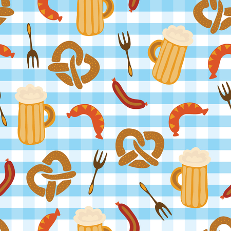 Pretzels beer sausage fork seamless vector illustration pattern. Blue and white checkered background. Perfect for Oktoberfest.