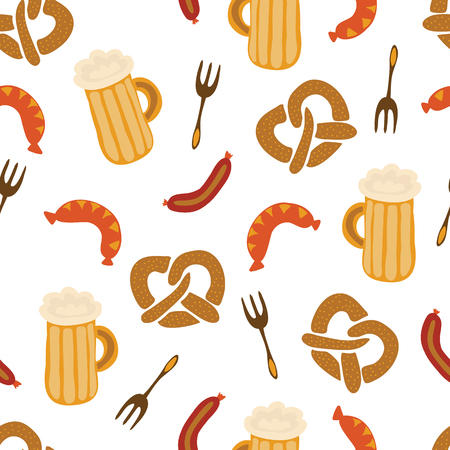 Oktoberfest pretzels beer sausage fork seamless vector illustration pattern. Blue and white checkered background. Perfect for Oktoberfest.