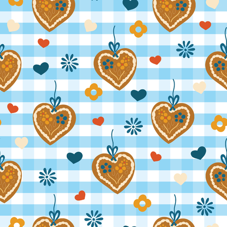 Oktoberfest Lebkuchenherz Gingerbread heart seamless vector pattern on a blue and white checkered background with blue, red, and white hearts and flowers. Great for backgrounds, fabric, and packaging. Illustration