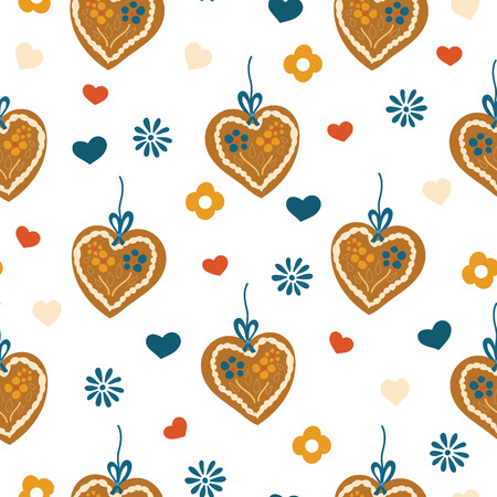 Gingerbread heart seamless pattern for Oktoberfest on a blue and white plaid background. Lebkuchenherz. Vector illustration. Great for backgrounds, wrapping, fabric, and packaging.