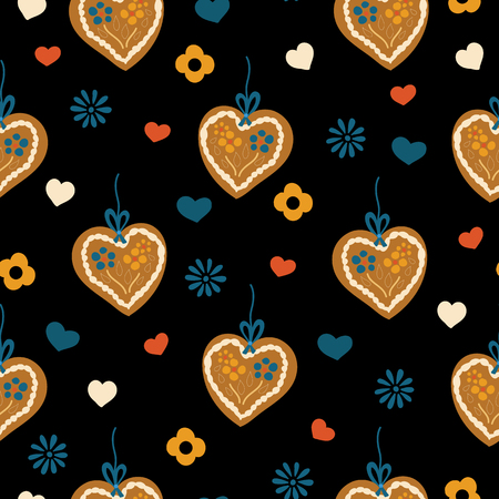 Lebkuchenherz Gingerbread heart seamless pattern for Oktoberfest on a black background with blue, red, and white hearts and flowers. Vector illustration. Great for backgrounds, fabric, and packaging.