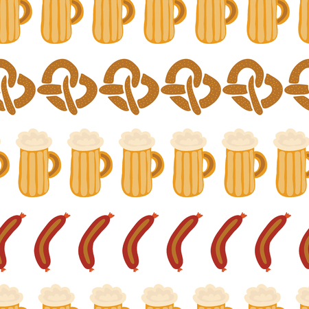 Oktoberfest pretzels beer sausage in a row seamless vector illustration pattern. Beer glasses, sausages, pretzels lined up. Blue and white checkered background. Perfect for Oktoberfest.
