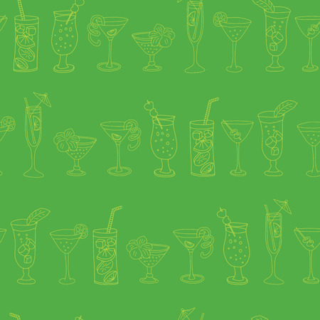 Cocktail glasses seamless vector pattern. Lime drinking glasses in a row on a green background with Cheers lettering, pineapples, and hibiscus flowers. Handwriten lettering text.