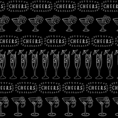 Tropical Cocktail glasses white on a black background with Cheers lettering. Seamless vector pattern. Great for backgrounds, restaurant, bar menues, bar decorations. Handwritten lettering.