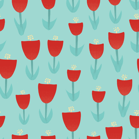 Floral retro seamless vector pattern. Abstract red tulip background. Retro spring pattern with geometric decorative tulip flowers. Textured retro tulip flowers on turquoise background.