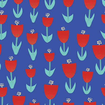 Abstract red tulip flowers seamless vector background. Floral motif for surface design. Retro spring pattern with geometric decorative tulip flowers. Textured retro tulip flowers on blue background. Illustration