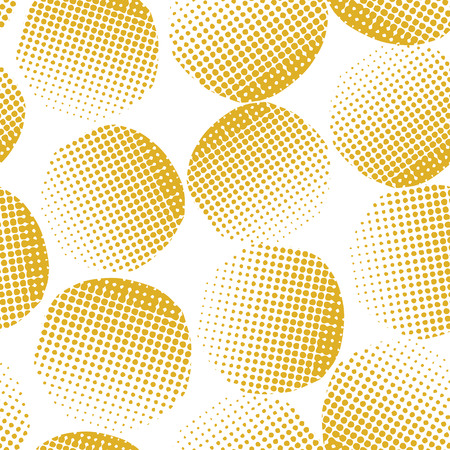 Gold abstract seamless vector background textured circles. Golden dots on white background. Abstract geometric background. Dotted circles pattern. Great for cards, Christmas, celebrations, weddings.
