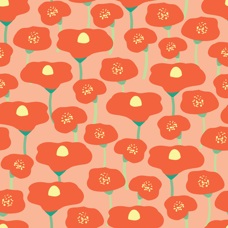 Poppy flower field seamless vector background. Red poppies meadow on pink coral peachy background. Retro floral background. Hand drawn vintage florals. Wrapping, wallpaper, fabric, scrapbooking, web