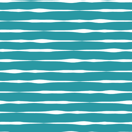 Horizontal wavy doodle lines seamless vector background. Teal blue turquoise hand drawn horizontal strokes in rows on white background. Textured backgound. Abstract geometric lines background.