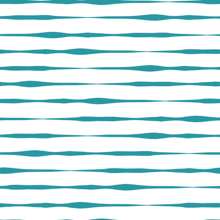 Horizontal hand drawn lines seamless vector background. Teal hand drawn horizontal strokes in rows on white background. Wavy doodle lines. Textured backgound. Abstract geometric lines background.