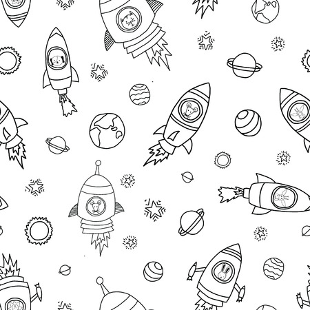 Space animals seamless vector background. Rocket ships. Astronaut mouse, cat, giraffe, dog, and lion in rocket ships black on white. Space themed monochrome kids pattern. Great for children, babys.