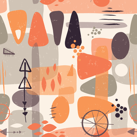 Abstract mid century shapes seamless vector background. 1950s print. Retro inspired shapes squares, rectangles, drops, and triangles in orange, peach, gray on beige. Distressed vintage print. Fifties