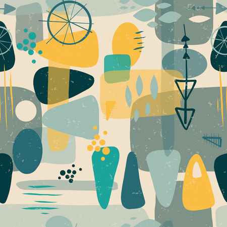 Mid century shapes abstract seamless vector background. 1950s print. Retro inspired shapes squares, rectangles, drops, and triangles in blue, yellow, gray on beige. Distressed vintage print. Fifties  イラスト・ベクター素材