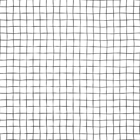 Black grid on white seamless vector background texture. Hand drawn doodle lines. Banco de Imagens