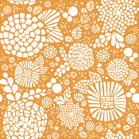 Floral abstract mosaic seamless vector background. White flowers and leaves on a mustard yellow background. Great for home decor, fabric, wallpaper, scrap booking, web banners, packaging, cards, fall
