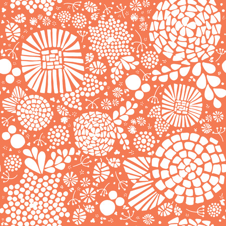Mosaic flowers seamless vector background. Hand drawn white abstract florals and leaves on a peach orange background. Great for home decor, fabric, paper projects, web banners, packaging, cards, fall