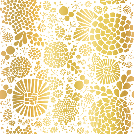 Gold foil mosaic flowers seamless vector background. Golden abstract florals and leaves on white background. Elegant, luxurious pattern for wallpaper, scrap booking, banners, packaging, wedding, party Illusztráció