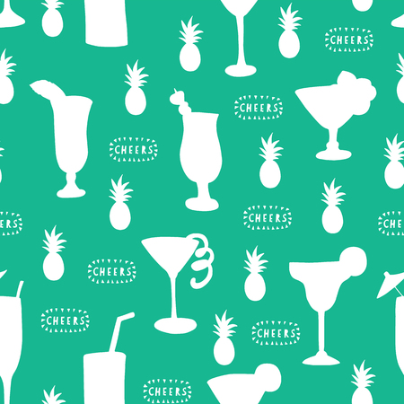 Cocktail glass seamless vector pattern. White alcohol drinking glasses on a teal background with Cheers lettering and pineapples. For backgrounds, restaurants, menu, bar menu, decoration, summer party