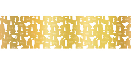 Gold foil cocktail glass seamless vector pattern border. White alcohol drinking glasses champagne flutes on golden background. For restaurant, bar menu, summer party, celebration, wedding, birthday