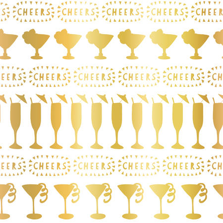 Gold foil cocktail glass seamless vector pattern. Golden alcohol drinking glasses champagne flutes on white background with Cheers lettering. For restaurant, bar menu, decor, summer party, celebration