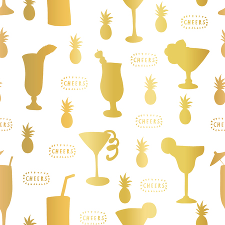 Gold foil cocktail glass seamless vector pattern. Golden alcohol drinking glasses on white background with Cheers lettering and pineapples. For restaurant, bar menu, decor, summer party, celebration
