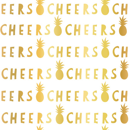 Gold foil Cheers lettering seamless vector pattern. Golden Cheers slogan and pineapples on white background. For restaurant, bar menu, decor, summer party, celebration, wedding, birthday, summer party Stock fotó - 111563447