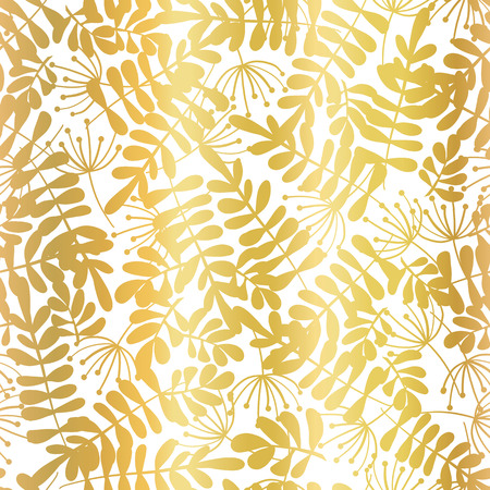 Gold foil leaves seamless vector background. Golden abstract leaf shapes on white background. Elegant, luxurious pattern for wallpaper, scrap booking, banners, packaging, wedding, party, invite, card