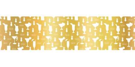 Gold foil cocktail glass seamless vector pattern border. White alcohol drinking glasses champagne flutes on golden background. For restaurant, bar menu, summer party, celebration, wedding, birthday