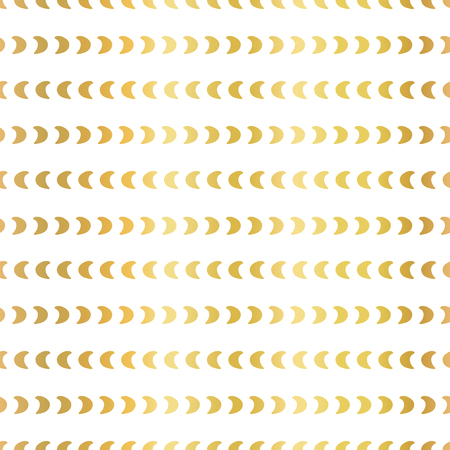 Gold foil half moon shapes seamless vector pattern. Golden crescents in horizontal lines on white background. Elegant design for digital paper, web banner, wedding, party invite, birthday celebration