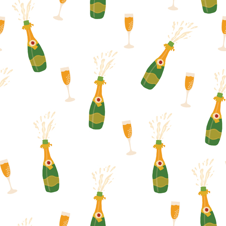 Champagne bottles and glasses vector seamless pattern background. Hand drawn illustration of champagne explosion and champagne flutes. Great for Party, New Years Eve, Christmas, Holidays, card, invite