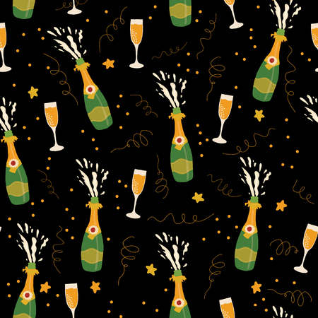 Champagne bottles and glasses vector seamless pattern background. Hand drawn champagne explosion and champagne flutes on black. For Party, New Years Eve, Christmas, Holidays, card, invite, wedding