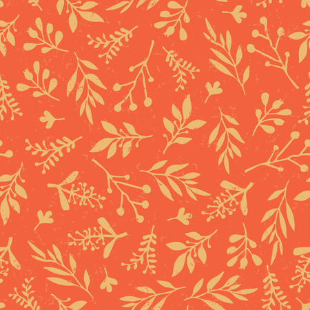 Thanksgiving vintage autumn leaves seamless vector background. Golden retro leaves on orange background. Abstract foliage nature pattern distressed style. Thanksgiving, Seasonal fabric, card, paper